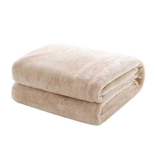 Mixibaby Kuscheldecke Flauschige extra weich & warm Wohndecke Flanell Fleecedecke, Falten beständig/Anti-verfärben als Sofadecke oder Bettüberwurf, Größe:240 cm x 270 cm, Farbe:Natur