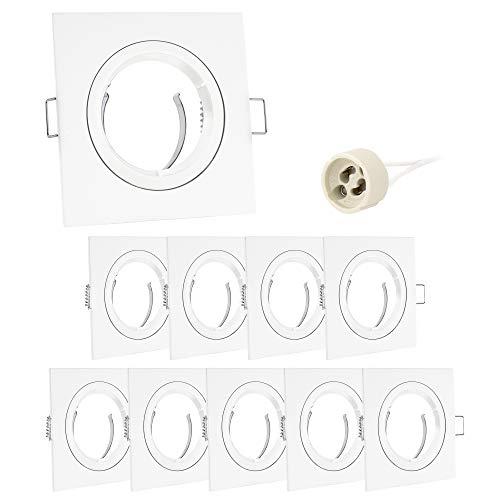 linovum® 10er Set Einbaurahmen GU10 eckig weiß inkl. GU10 Lampen Fassung - 10x Einbauspot Rahmen für LED, Halogen, MR16