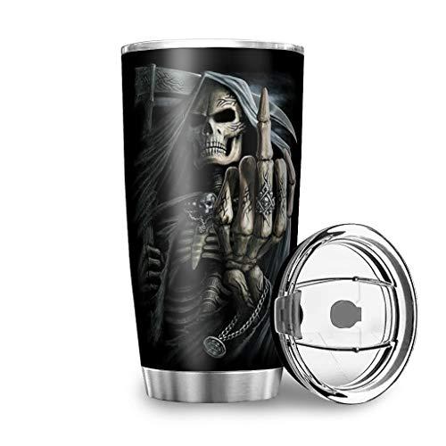 Fanaxii Taza de café de acero inoxidable con diseño de calavera, a prueba de fugas, termo con doble pared, con tapa, vaso de agua para viajes, camping, color blanco, 600 ml