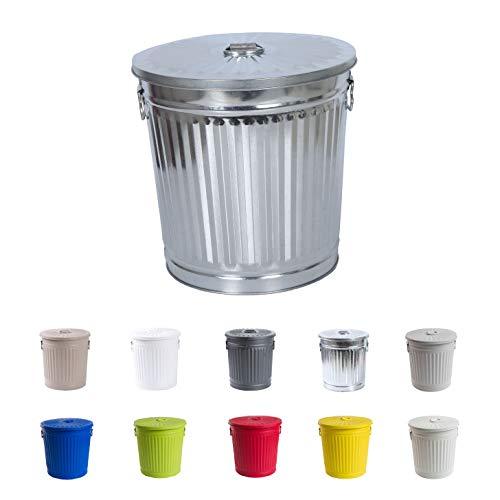 Jinfa Retrodesign Mülleimer mit Deckel | Zink | Ø 21,5 cm, Höhe 21,5 cm 7 Liter