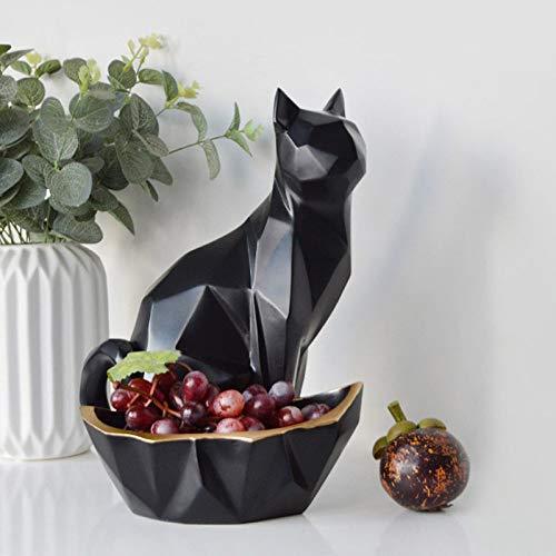 XXYDSDM Statue,Chat Noir Géométrique Créatif Clé Sculptures Animaux Boîte De Rangement Fait...
