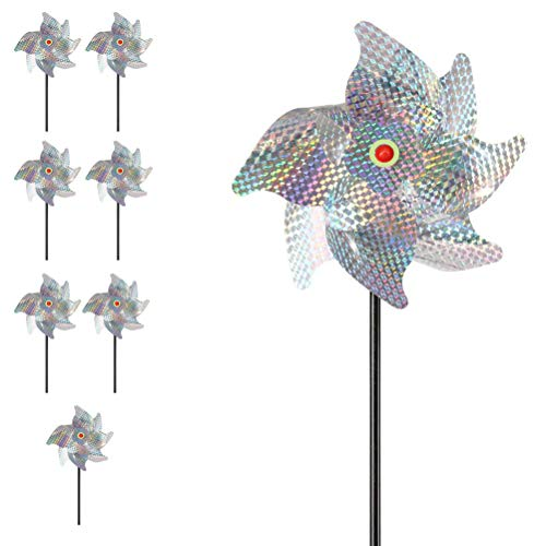 Reflective Pinwheels, 8-Pack Extra Sparkly Pin Wheel for Garden Decor, Bird Repellent Devices Deterrent to Scare Birds Away from Yard Patio Garden Farm