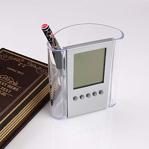 FENGCLOCK Reloj Despertador Musical, Soporte de lápiz/lapicero de Escritorio Digital Reloj Despertador con Pantalla LCD Termómetro y Calendario, Reloj Digital de sobremesa de sobremesa