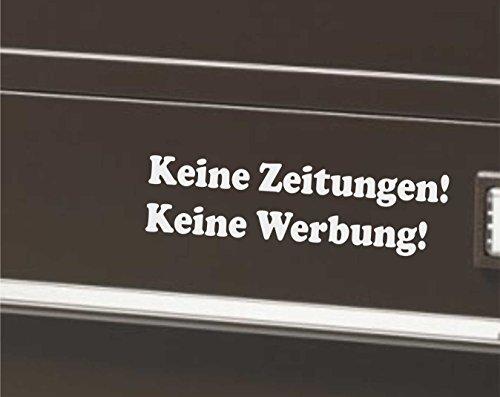 INDIGOS UG - Briefkastenaufkleber - Keine Werbung! Keine Zeitung! 68x19 mm - silber - Schutz für den Briefkasten! - 1 Stück