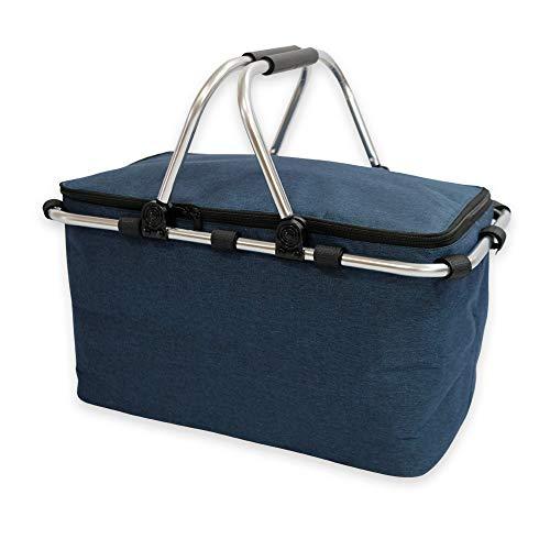 TIYASTUN 21L Kühlkorb Einkaufskorb Faltbar, Kühltasche Isolierkorb Picknickkorb mit Gepolsterten Griffen Cool Bag für Lebensmitteltransport (Dunkelblau)