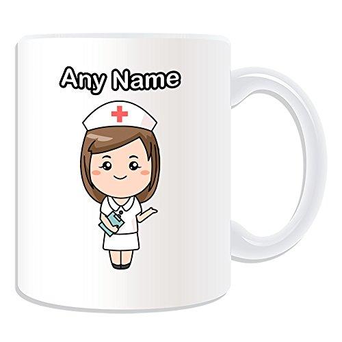 UniGift - Tazza con disegno di infermiera, colore a scelta, Tazza, motivo: sanità, personalizzabile con nome e messaggio, personale croce rossa