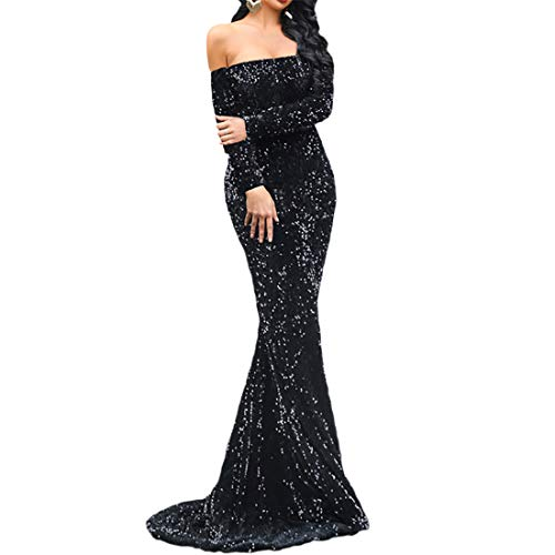V/A Women Off Shoulder Backless Long Sleeve Floor Length Sequin Wedding Evening Party Maxi Dress (Small, Black)