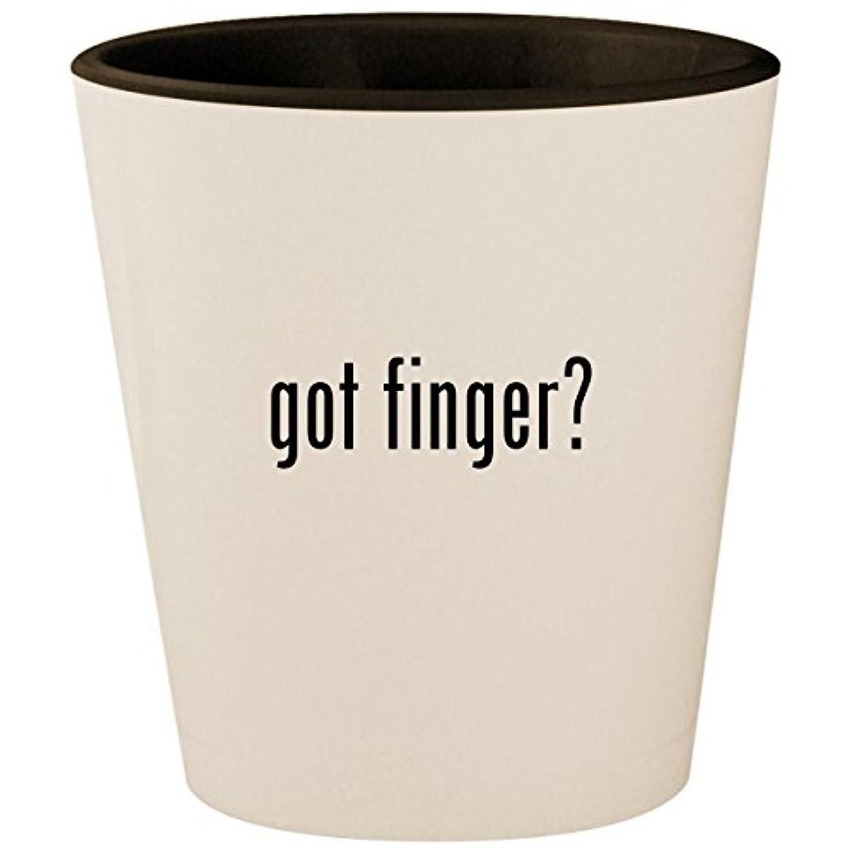 got finger? - White Outer & Black Inner Ceramic 1.5oz Shot Glass
