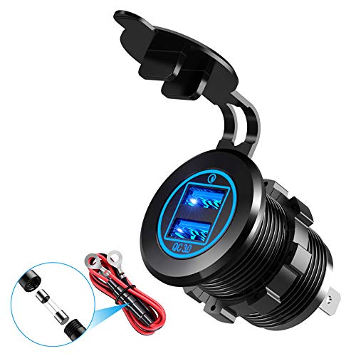 YONHAN 36W Quick Charge 3.0 Dual USB Car Charger Socket, Metal Waterproof 12V USB Outlet with Blue LED & 10A Fuse for 12V/24V Marine Boat Golf Cart Truck Motorcycle and More