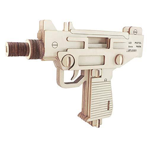 DNAMAZ Pistolas El Corte de Madera del Rompecabezas 3D Rompecabezas Pistola Uzi Asamblea Pistola de Bricolaje Niños educativos Juguetes de Madera for niños Niños Bandas (Color : Uzi Pistol)