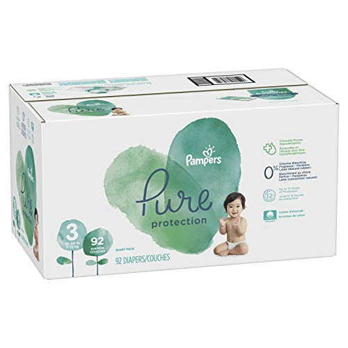 Diapers Size 3, 92 Count - Pampers Pure Protection Disposable Baby Diapers, Hypoallergenic and Unscented Protection, Giant Pack (Old Version)