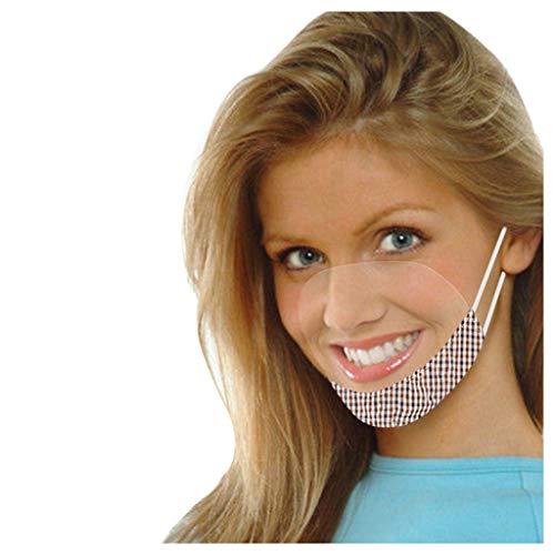 SHUANGA transparent Face Cover Multifunktionstuch Motorrad Winddicht Atmungsaktiv Mundschutz Halstuch Schön Atmungsaktiv Sommerschal Augenschutz Design für Taubstumm