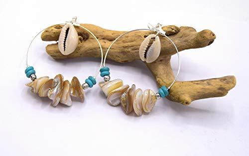 Ethnicfeather - Ohrringe CREOLE Süßwasserperlen und Kaurimuscheln, Geburtstagsgeschenke, Damenschmuck