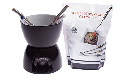 Fondueset - 4 Fondue Gabel + Teelicht + dunkle Schokolade