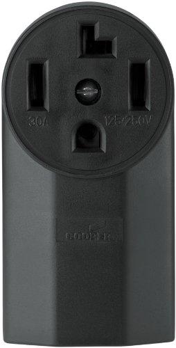 Eaton WD1225 30-Amp 3-Pole 4-Wire 125-Volt Surface Mount Dryer Power Receptacle, Black