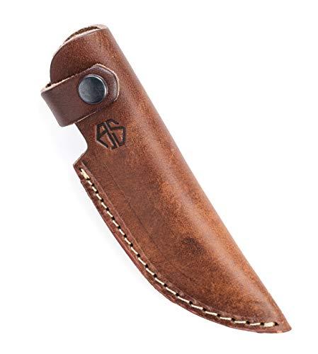 Angus Stoke Hochwertige Leder Messerscheide für die Jagd, Freizeit & Küche - Gürtelmesseretui extra Dickes Leder - Messertasche Tommy (Braun)