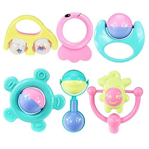NLRHH Baby Beattles Toys Deceders Set Agarra y Giro Skilling Bell Traache Regalo Juguete para Niño Newborn Boy 6pcs / Set Peng