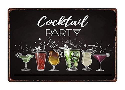 Kunstbord van tin om op te hangen aan de muur, posters, vintage, cocktails, blikken borden voor dranken, pub, restaurant, winkel, party, decoratie voor thuis