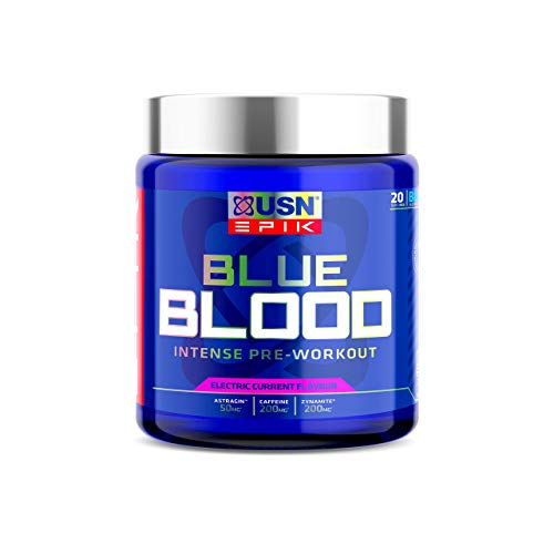 USN Epik Blue Blood Preworkout, Containing Caffeine, Vaso-6, and Zynamite to Increase Energy and Promote Muscle Gains with Weight Training, Electric Current Flavour 420 g