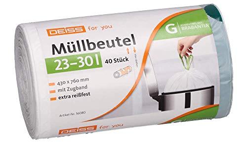 Disss - Sacchi della spazzatura per Brabantia Touch Bin, 23-30 litri, 40 pezzi
