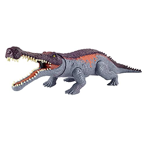 Jurassic World Sarcosuchus Massive Biters Larger-Sized Dinosaur Action Figure with Tail-Activated Strike and Chomping Action, Movable Joints, Movie-Authentic Detail; Ages 4 and Up