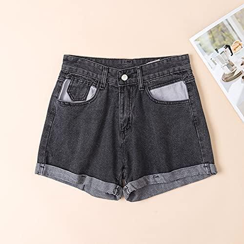 TSP 2021 Spring New Summer Women Loose Fit Blue Denim Shorts High Waist Casual Female Width Leg Dark Grey Jeans Shorts (Color : Dark Grey, Size : L)