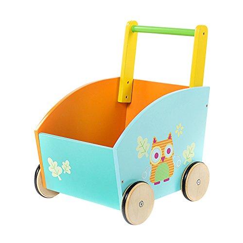 Labebe Lauflernwagen holz, 2-in-1 Verwendung als Laufwagen, Orange Eule Lauflernhilfe für 1-3 Jahre, Gehfrei Lauflernhilfe Baby/Lauflernhilfe Holz/Gehhilfe Holz/Baby Lauflernwagen Holz