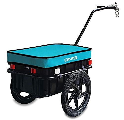 DMS® Fahrradanhänger, Lastenanhänger, Handwagen, mit Hochdeichsel, Transportbox mit 70 Liter Volumen, Max. 60kg, Kugel-Kupplung für Fahrräder mit 26'' - 28'' FH-01 (Blau)