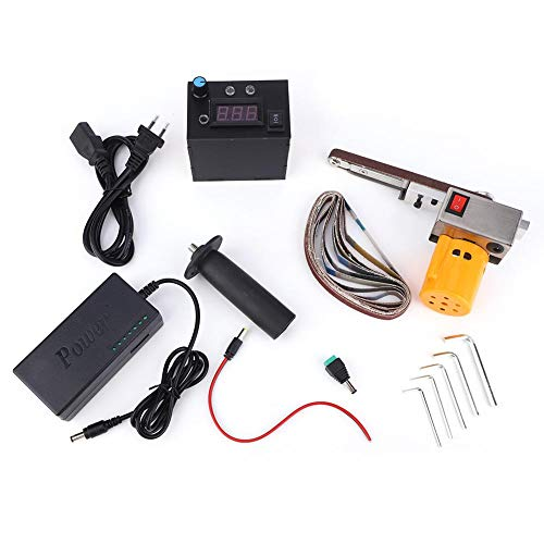 Bandschleifer, Mini-Handschleifmaschine Elektrische Schleifbandmaschine, Power-Schleifpolierwerkzeug für Holzmöbel Holzreifen, mit 10-teiligem Schleifband, drehzahlverstellbar(EU)