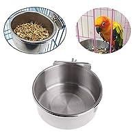 Ivyday ペットボウルにボルトで固定 ステンレス鋼の掛かるボウル 鳥用エサ給餌皿 ウォーターフードフィーダー 小