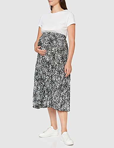 New Look Mixed Animal Pleat Falda, Negro (Black Pattern 9), 36 (Talla del Fabricante: 8) para Mujer