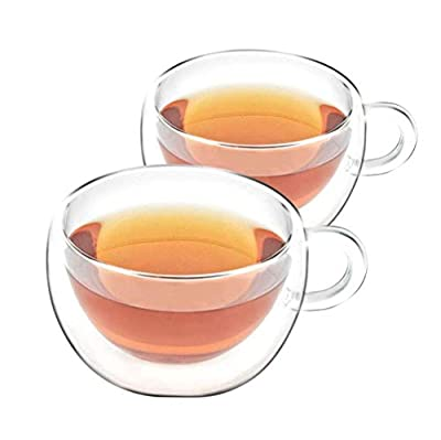 VAHDAM - Double Walled Insulated Cup (2 Pieces) Clear Glass Tea Cups Coffee Mugs 6.7oz Capacity, DURABLE & STYLISH, Tea Cup Set - Dishwasher, Microwave & Refrigerator Safe (SHIMMER)  Cup Gift Set