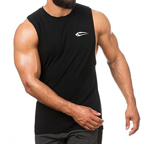 SMILODOX Cut Off Tank Top Herren   Muskelshirt mit Aufdruck für Sport Gym Fitness & Bodybuilding   Muscle Shirt mit Aufdruck - Unterhemd - Achselshirt - Trainingshirt Kurz, Farbe:Schwarz, Größe:XXL