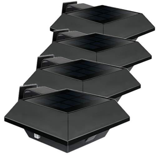 Uniquefire Schwarz Solarlampe 12 LEDs Dachrinnen Außenlampe Leuchte Wandlampe Solar Warmweiße Licht f.Garten, Terrasse, Fahrtweg, Höfe, Traufen (4 STK.)