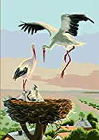 WEIFENGX油絵 数字キットによる絵画 塗り絵 大人 手塗り DIY絵 デジタル油絵 フレームレス 40x50cm - 赤戴冠クレーンファミリー