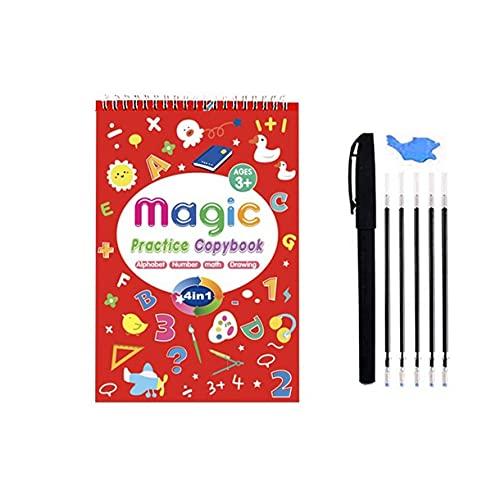 Surgewavelv Cuaderno de práctica mágica para niños 4 en 1 Cuaderno de Ejercicios de práctica de Escritura a Mano Juego de Papel de caligrafía de caligrafía para niños Reutilizable - Rojo 14x21x2cm