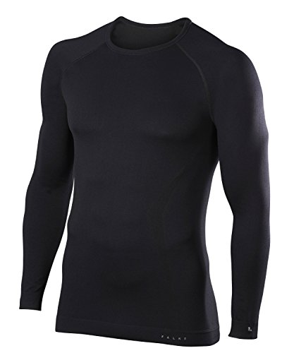 FALKE Herren, Langarmshirt Maximum Warm Long Sleeve Comfort Fit Funktionsfaser, 1 er Pack, Schwarz (Black 3000), Größe: XL