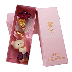 gold foil artificial forever rose for her valentine day present mother day birthday gift (plush bear, rose red) silk flower arrangements