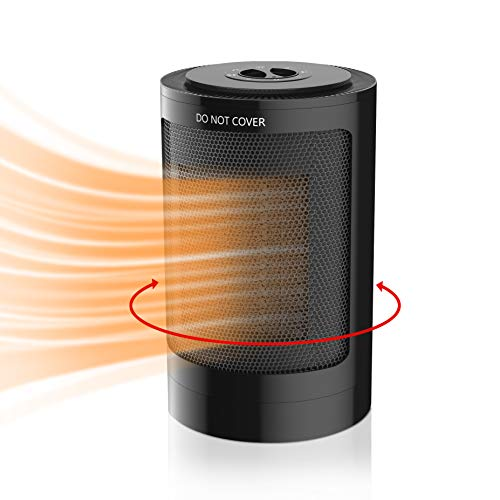 Portable Space Heater, 750W/1500W Indoor Personal Electric Heater with Overheat & Tip-Over Protection, 65° Auto Oscillation Desktop Room Heater with Adjustable Thermostat for Home Office