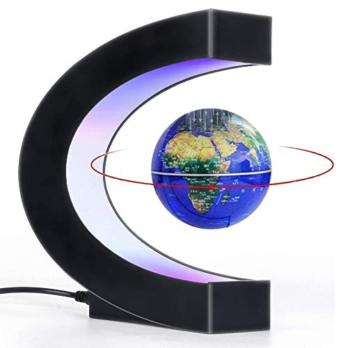 Globe Magnetic Levitation Globe Maglev World Map Cool Gadgets Gifts for Men Fun tech Gifts C Shape Magnetic Floating Globe Spinning Globe with LED Light Unique Gadgets Birthday