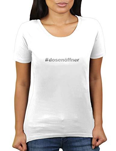 KaterLikoli Hashtag Apriscatole – # Apriscatole – Maglietta da donna bianco S