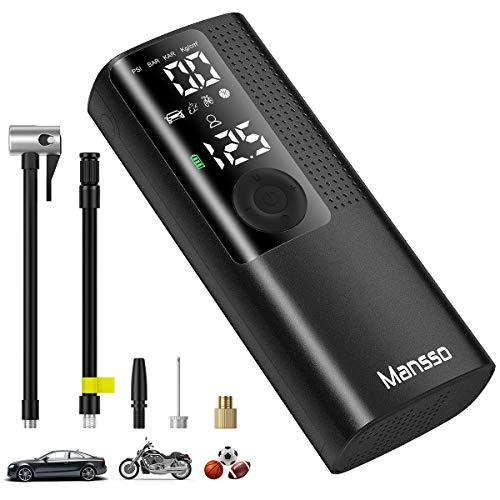 Mansso Air Compressor Portable Tire Inflator Rechargeable with Digital Display Pressure Gauge Cordless Electric Air Pump for Car Tires, Motorcycle, Bike, Balls