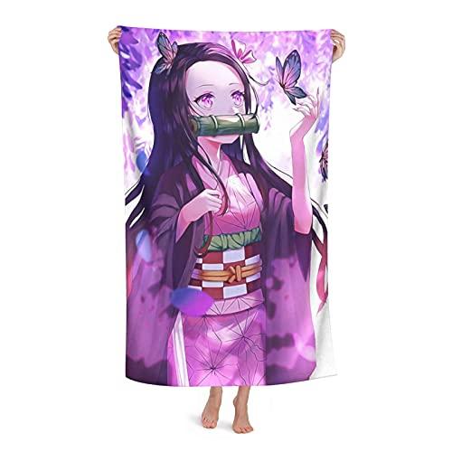 Demon Slayer Kimetsu no Yaiba - Toalla de baño para mujer, de secado rápido, súper absorbente, de microfibra suave, 80 x 130 cm, para natación, gimnasio, para hombre, playa, para mujer