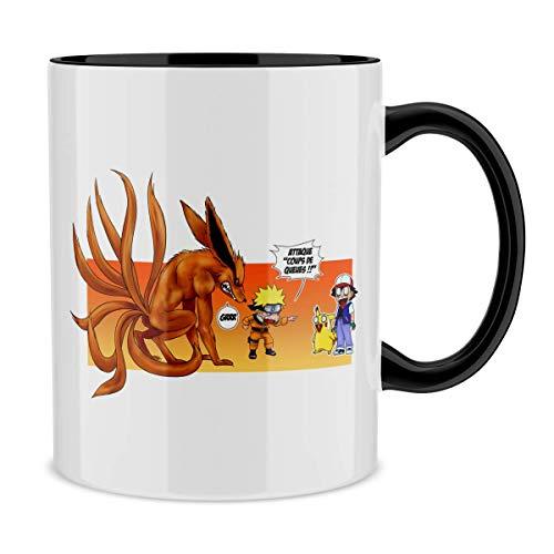 Okiwoki Mug avec Anse et intérieur de Couleur (Noir) - Parodie Naruto - Pokémon - Naruto, Kyubi X Sasha et Pikachu - Un Nouveau dresseur. (Mug de qualité supérieure - imprimé en France)