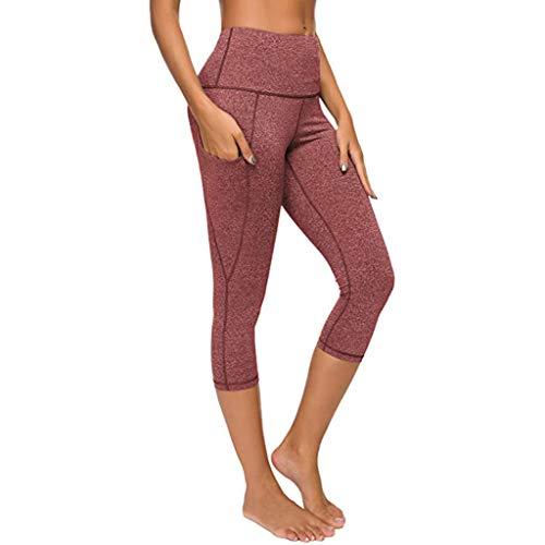iHENGH Legging,Femmes Sept Pantalons Yoga Tight Poche Couleur Solide Sec élastique Rapide Capris sans Couture