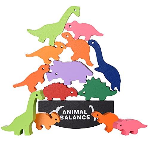 FORMIZON Gioco di impilamento, Giocattolo a Blocchi Impilabili in Equilibrio, Costruzioni Blocchi in Legno a Forma di Animali, Giochi educativi Montessori, Giocattoli Educativi per Bambini (Dinosauro)