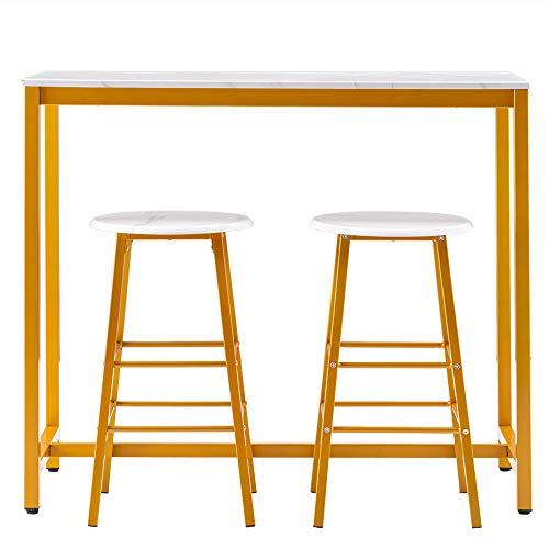 Juego de mesa de bar simple, contiene 1 mesa y 2 taburetes, superficie de mármol de PVC, pintura dorada, superficie lisa, fácil de mantener limpio, para bares de restaurantes de cocina