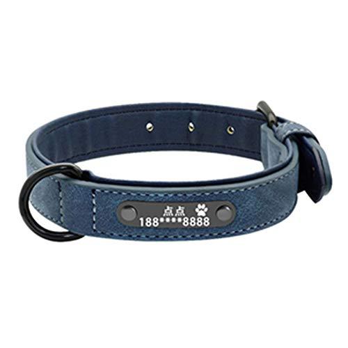FAPROL Collar De Perro con Placa De Identificación Multicolor Collar De Perro Grande Y Acogedor Placas De Identificación Personalizadas Cuero Artificial De Longitud Ajustable Blue L