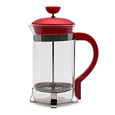 Primula Classic Stainless Steel French Press Coffee/Tea Maker Premium Filtration, No Grounds, Heat Resistant Borosilicate Glass, 8 Cup / 32 Oz, Red