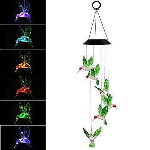 Lámpara LED solar colgante, forma de colibrí, cambio de color, para jardín, decoración para el patio